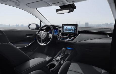 Het interieur van de Toyota-Corolla-Hatchback